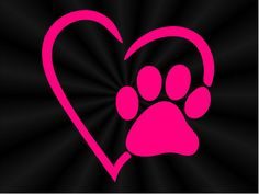 Paw and Heart Decal Paw Print Decal Puppy Print by TruLineDecals
