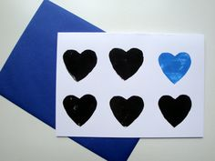 Blue Love Heart Card // Valentines A5 Lino Print by StampAndStitch