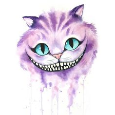 Cheshire Cat Watercolor, Cheshire Cat, Alice in Wonderland, Through... ❤ liked on Polyvore featuring home, home decor, wall art and watercolor wall art