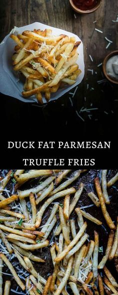 These duck fat Parmesan truffle fries may be a mouth full but they are super simple to make and served with the most AMAZING truffle mayonnaise dipping sauce. French Recipes, Great Recipes, Favorite Recipes, Homemade Truffles, Lemon Truffles, Coconut Truffles, Cake Truffles, Chocolate Truffles, Fries In The Oven