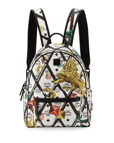 438573a58536 Small Logo-Embossed Canvas Backpack Mcm Handbags