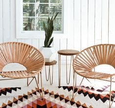 more hoop chairs, hairpin side tables and geometric rug and planter!
