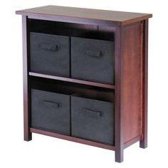 Verona 5 Piece Set Storage Shelf with Folding Fabric Baskets - Walnut, Black - Winsome