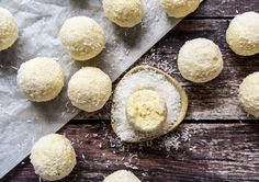 Lemon Cheesecake Bliss Balls with Thermomix and Conventional Instructions. You can whip these up with four basic ingredients and a snippet of time. Easy Lemon Cheesecake, Coconut Cheesecake, Simply Recipes, Sweet Recipes, Whole Food Recipes, Keto Recipes, Gourmet Recipes, Yummy Recipes, Recipies