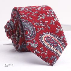 COTTON  TIE S088 Wool Tie, Floral Tie, Handsome, Cotton, Cravat Tie