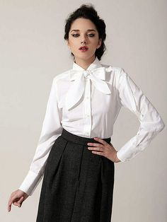 Secretary In Her New Work Outfit With White Bow Blouse | Flickr
