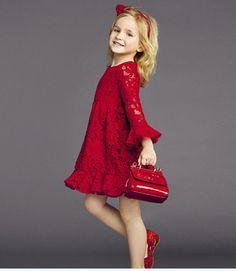 Criança meninas red vestidos de renda meninas do bebê da princesa vestido vermelho baby girl eventos vestidos de renda 1505-WYD