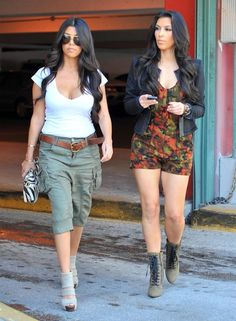 Kourtney Kardashian Hair.  I want both their outfits!