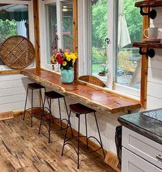 Live Edge Bar, Live Edge Wood, Live Edge Table, Live Edge Slabs, Deco Design, Küchen Design, House Design, Cabin Interior Design, Rustic Design
