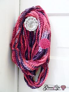 "Free Pattern   This Necklace Scarf is very easy & fast. You can whip up this scarf in just hours; great for a last minute gift or a personal fashion statement. This Scarf would also be perfect to make using Specialty yarn, since it showcases the yarn itself! Try some Hand-spun & Hand-dyed fibers, ribbon yarn, glitter yarn, sequin yarn, or just some great self-striping yarn! You can wind your scarf up in a Hank to make is a great travel scarf!     Length of Scarf – 32"" in diameter"