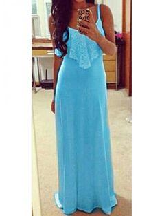 Modern Dresses: Blue Panel Flouncing Straps Design Dress