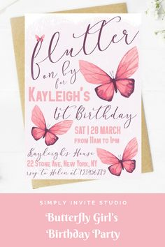 This Pink Butterfly (Flutter on By) Birthday Invite is perfect for a little girls' birthday party. This easy to edit birthday party invitation will be a great addition to your little one's Pink Butterfly Birthday Party Theme. 1st Birthday Girl Decorations, Birthday Party Treats, 1st Birthday Party Themes, 5th Birthday, Birthday Party Invitations, Birthday Ideas, Butterfly 1st Birthday, Butterfly Invitations, Butterfly Birthday Party
