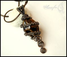 SALE Chocolate brown ceramic and bronze wire wrapped by amorfia, $30.00