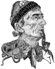 Jacques Cousteau by Sarah A. Illustration Tumblr, Digital Illustration, Graphic Illustration, Portrait Illustration, Illustrations, Jacques Cousteau, Word Pictures Art, Typography Portrait, Sarah King
