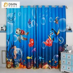 DIHINHOME Home Textile Kid's Curtain DIHIN HOME 3D Printed Cartoon Finding Nemo Blackout Curtains,Window Curtains Grommet Curtain For Living Room ,39x102-inch,2 Panels Included Childrens Curtains, Kids Curtains, Curtains For Sale, Grommet Curtains, Drapes Curtains, Blackout Panels, Blackout Curtains, Balloon Curtains, Bathroom Window Curtains