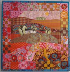 "Bright Hope Farm, 33"" x 34"" by BJ Elvgren, fabric and quilt artist.  Made with Kaffe Fassett fabrics."
