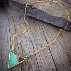 Mint green geometric Gold stone necklace Australian Jade Chrysoprase gemstone short necklace wire wrapped hippie boho chic jewelry Jo'ellie