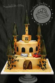 Hogwarts Resembling Cake with Sci-Fi Trinkets