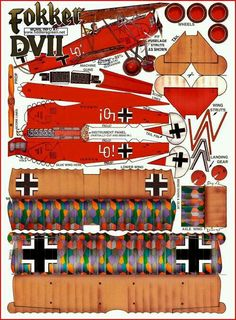 Fokker DVII Paper Airplane Models, Model Airplanes, Paper Planes, Cardboard Toys, Paper Toys, Lego Plan, Imprimibles Toy Story, Paper Aircraft, Free Paper Models