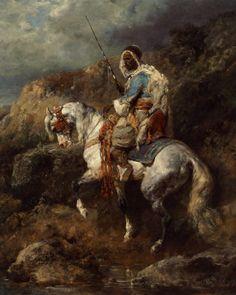 Adolf Schreyer (1828-1899) Arabischer Reiter an einter Tranke Oil on Canvas