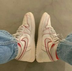 Apr 2020 - Aesthetic vintage art hoe trendy casual cool edgy outfit fashion style idea ideas inspo inspiration for school for women winter summer shoes snealers nike ar force white red Dr Shoes, Swag Shoes, Hype Shoes, Me Too Shoes, Shoes Heels, Nike Vintage, Aesthetic Shoes, Fresh Shoes, Simple Shoes