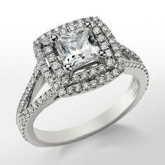 Monique Lhuillier Princess Double Halo Engagement Ring in Platinum   Blue Nile