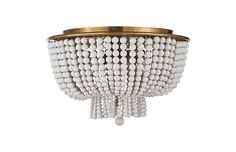 Dress the room in elegant texture with this flush mount, draped in a waterfall of white beads with burnished silver-leaf framework. Beaded Chandelier, Chandelier Shades, Chandelier Lighting, Chandeliers, Overhead Lighting, Flush Mount Lighting, Lighting Ideas, Ceiling Texture, Room Lights