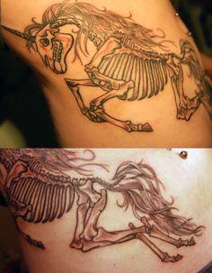 unicorn skeleton tattoo