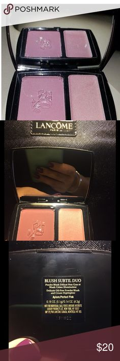NEW Lancôme Aplum/Perfect Pink duo. NEW ✨💋 This is a BRAND NEW Dynamic Duo Aplum/Perfect Pink duo. NEW Lancôme QUALITY. I use this color combo a lot, very flattering. Use that offer button, don't pay retail. If you've never used Lancôme products because of the cost, NOW is your opportunity! ❤️✨❤️ bundle with other NEW Lancôme items in my closet to save even more ❤️✨❤️ Lancome Makeup Blush