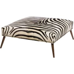 cow hide, wanut finish x x Zebra Ottoman - Emporium Home Cowhide Furniture, Cowhide Ottoman, Leather Ottoman, Leather Furniture, Cowhide Leather, Safari Home Decor, Safari Decorations, Modern Ottoman, Black Ottoman