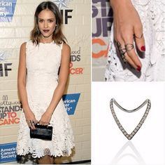Jessica Alba upgrades her look with an EF Collection black rhodium diamond V ring.