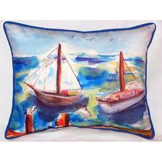 Betsy Drake Interiors Two Sailboats Indoor/Outdoor Lumbar Pillow Size: 1