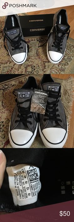 100% authentic converse size 10 sneakers BRAND NEW Gray and black brand new with tags converse sneakers. Size 10 and I also have a size 8. These were purchased as gifts and they didn't fit. After a year of not returning trying to sell them. Converse Shoes Sneakers