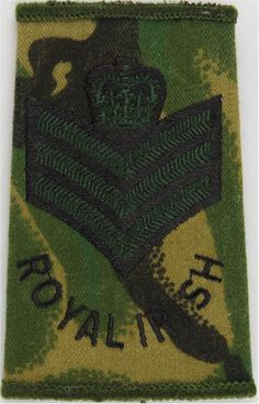 Colour Sergeant (Royal Irish Regiment) Black/Green On DPM NCO or Officer Cadet rank badge for sale Military Ranks, Military Uniforms, Royal Marines, Queen Crown, Royal Air Force, Badges, Soldiers, Irish, 18th