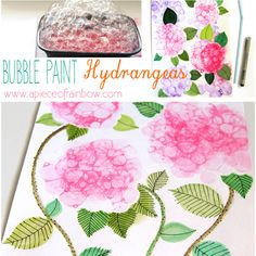 Make Bubble Paint Hydrangeas- super fun and easy tutorial! | A Piece Of Rainbow
