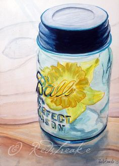 BALL JAR with daffodils print signed by artist on Etsy, $15.00