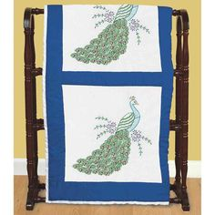 6-Pack 18-Inch by 18-Inch Jack Dempsey Stamped White Quilt Blocks Peacock