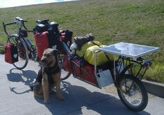 This person must have MASSIVE LEGS! Keeping control of this rig on steep declines or when trying not to stick out into traffic must be a BIG JOB. Check out the super-solar bike touring rig! Biking With Dog, Powered Bicycle, Beach Cruiser Bikes, Cycling Holiday, Bike Trailer, Cargo Bike, Touring Bike, Bicycle Accessories, Bike Design