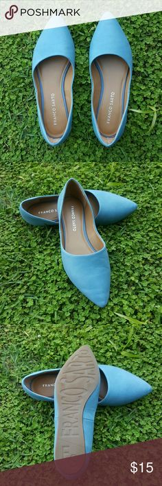 Franco Sarto leather flats Re*posh from @ryry81. Beautiful soft baby blue colored leather flats. Pointed toe, excellent condition. No longer needed in my wardrobe. Pet-free & smoke-free home. Franco Sarto Shoes Flats & Loafers