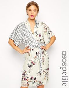 Image 1 of ASOS PETITE Pencil Dress with Drape Top in Floral and Bird Print