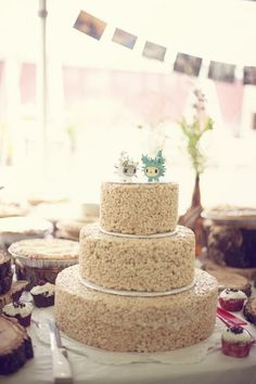Rice Crispie cake... awesomeness. @ Christine Tamer Bassham--- Why did you not have this at your wedding!??