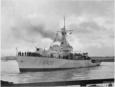 HMS Loch Alvie(K428) a Loch class Frigate built by Barclay, Curle & Co. at Whiteinch, Glasgow. & commissioned 10/8/44on loan service to RCN manned by Canadian crew and operated in in Canadian 9th Escort Group. Served asConvoy Escort in North Atlantic & Arctic. Reverted to RN 06/44 & placed in reserve. 04/50 recommissioned. '54 major refit then sent to Persian Gulf. 11/63 decommissioned in Singapore. 20/09/65 sold to Hong Huat for scrapping.