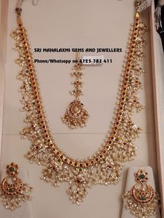 Light weight Guttapusal haaram set with ear rings Tika. Beautiful long haaram with guttapusalu hangigns. Long haaram with matching chaandbalies. 04 May 2018 Pearl Jewelry, Wedding Jewelry, Gold Jewelry, Diamond Jewelry, Gold Necklaces, Light Weight Gold Jewellery, Indiana, Gold Jewellery Design, Indian Gold Jewellery