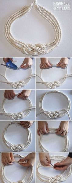 Handmade in the Heartland: DIY Nautical Knot Rope Necklace - Anime Thing Jewelry Knots, Macrame Jewelry, Fabric Jewelry, Jewelry Crafts, Macrame Necklace, Soutache Jewelry, Crystal Jewelry, Jewelry Art, Diy Schmuck
