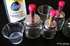 Use Pledge floor finish and glitter to coat  the inside of glass jars or ornaments for different occasions/holidays