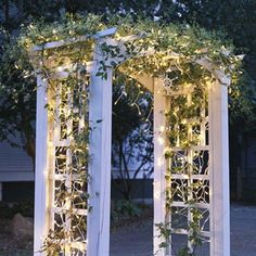 Outdoor Christmas Lights Arbor of Light Here's a great look for those living in warmer climates. Icicle lights have been draped over a vine-covered arbor, creating an archway of holiday magic. Pergola Lighting, Outdoor Lighting, Wedding Lighting, Lighting Ideas, Lighting Concepts, Outdoor Christmas Decorations, Christmas Lights, Christmas Ideas, Christmas Tree