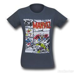 Images of Avengers Classic Panels on Charcoal T-Shirt