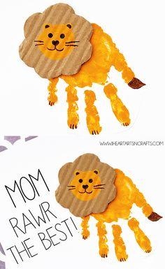 "Handprint lion card ""You are A-Rawr-f . - Handprint lion card ""You are A-Rawr capable"" - Kids Crafts, Mothers Day Crafts For Kids, Daycare Crafts, Fathers Day Crafts, Mothers Day Cards, Baby Crafts, Toddler Crafts, Toddler Activities, Preschool Activities"