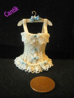 1:12 Scale Miniature Handmade VICTORIAN STYLE CREAM /Blue LACE CORSET ON HANGER