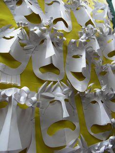 Craft - Greek Masks - make some for art Walk display. (geography, homeschool, preschool)Greece Craft - Greek Masks - make some for art Walk display. Projects For Kids, Art Projects, Classe D'art, Greek Crafts, Origami, Drama Masks, Ancient Greek Art, Ancient Greece For Kids, Ancient Greece Display